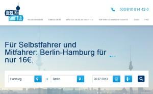 Berlin Shuttle Webseite
