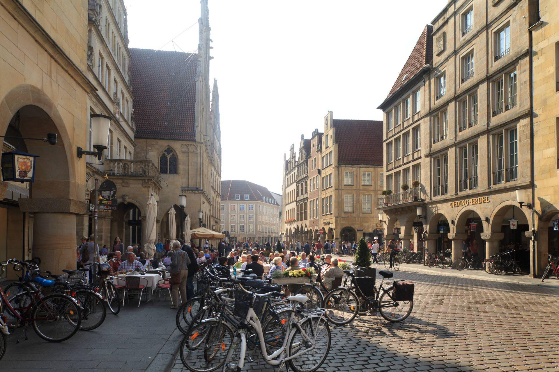 Fahrräder in der Innenstadt von Münster
