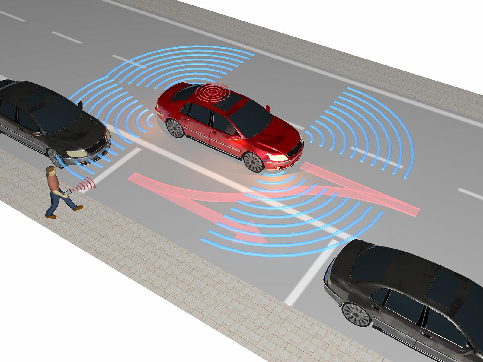 Autonomes Fahrzeug im Carsharing-Betrieb: Nachdem der Mieter das Auto angefordert hat, navigiert es selbstständig zum Abholbereich.