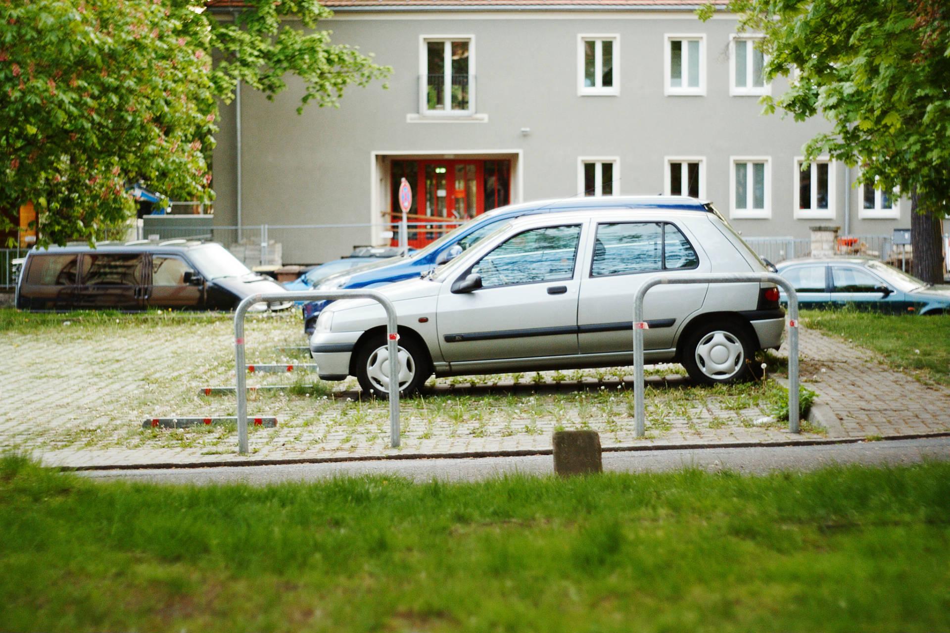 Ein Parkplatz in Dresden