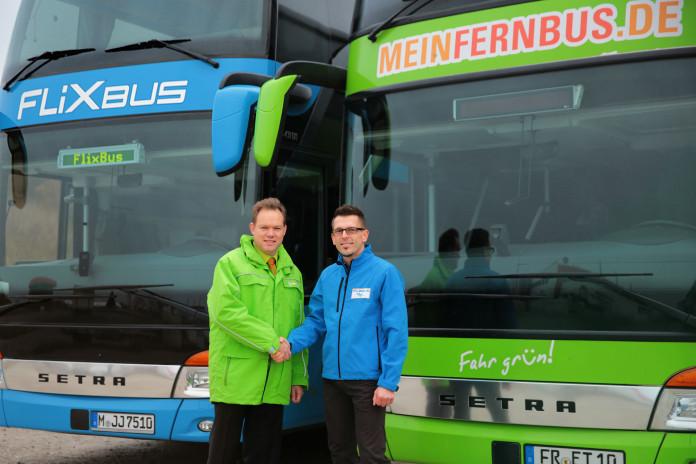 Michael Griensteidl von MeinFernbus und Harald Baumann von FlixBus