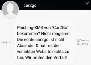 Hinweis-SMS von car2go