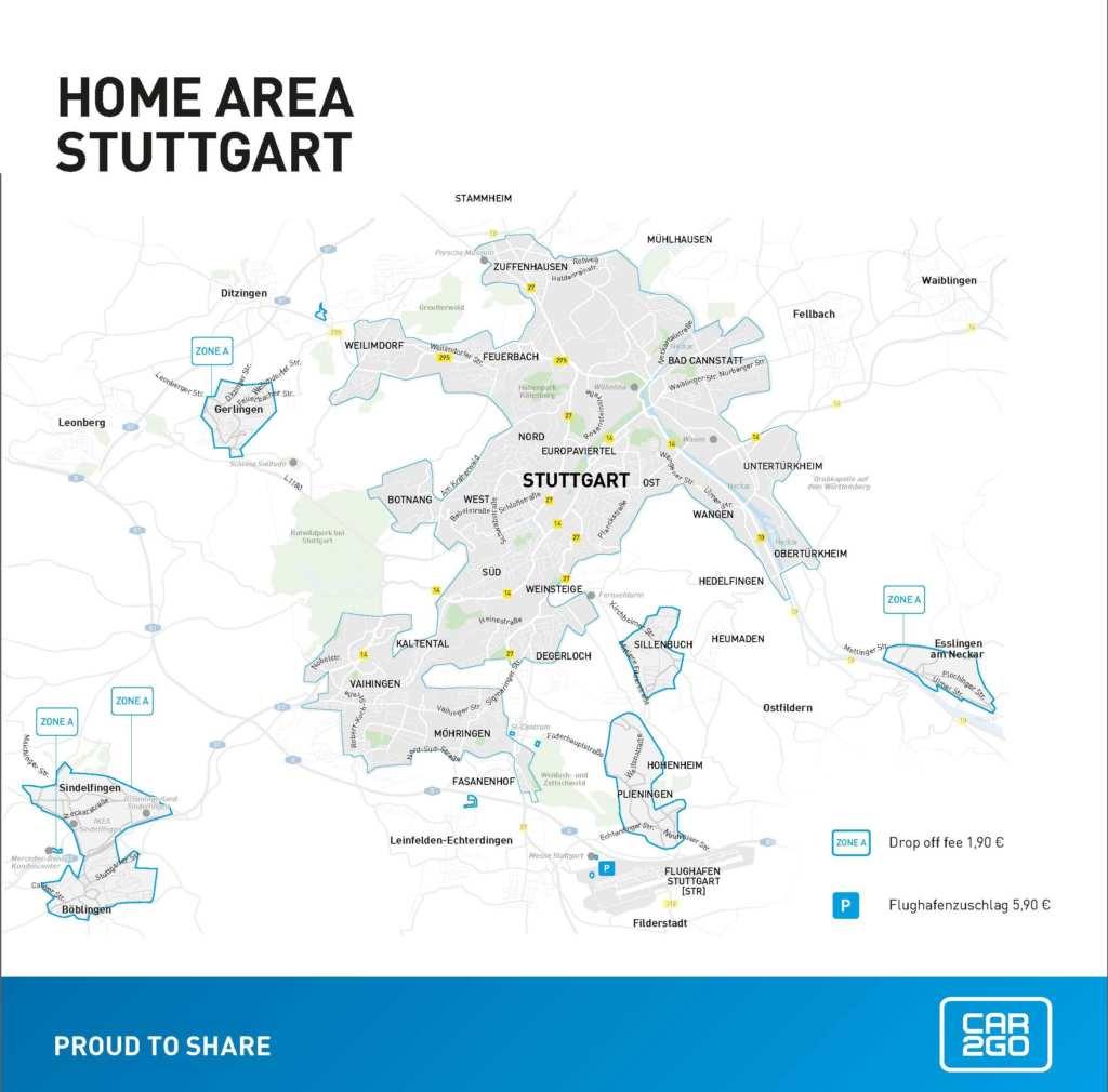 car2go Geschäftsgebiet Stuttgart