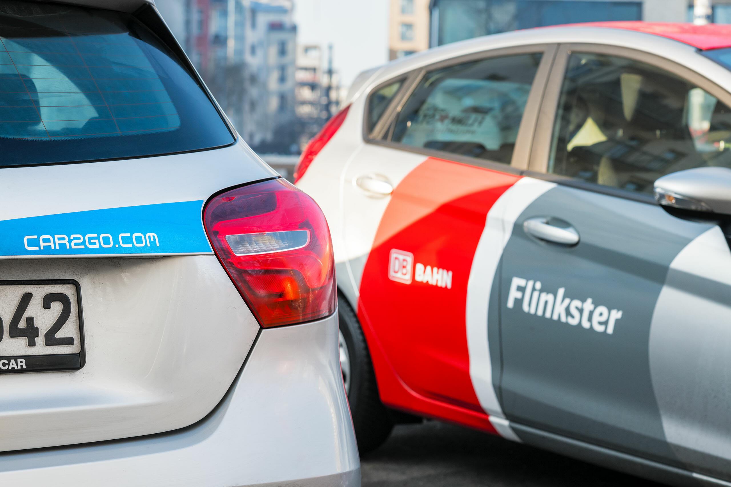 car2go und Flinkster nebeneinander