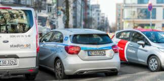 Diverse Carsharing Fahrzeuge